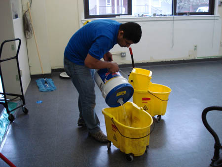 Cleaning commercial tile floors